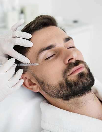 man receiving injectable treatment